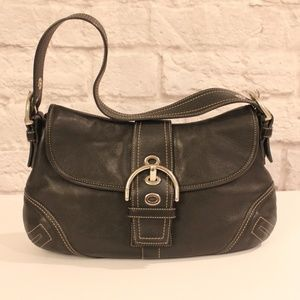Coach Black Soho Leather Hobo Buckle Flap  Bag